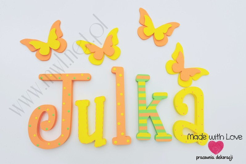 Literki imię dziecka na ścianę do pokoju - 3d - wzór MWL11 julia julka julcia marta