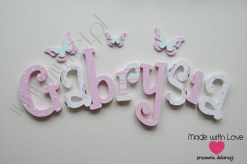 Literki imię dziecka na ścianę do pokoju - 3d 30cm - wzór MWL105 gabi gabrysia