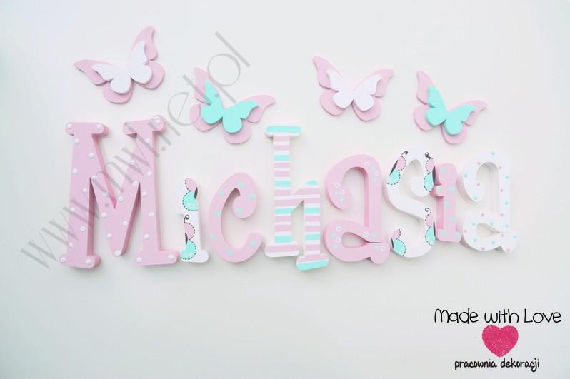Literki imię dziecka na ścianę do pokoju - 3d 30cm - wzór MWL105 misia michasia michalina