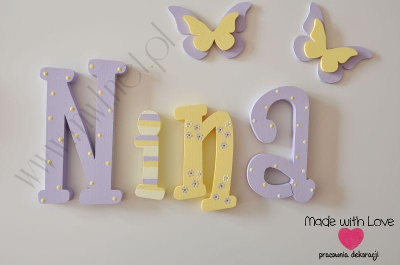 Literki imię dziecka na ścianę do pokoju - 3d - wzór MWL13 nina nina