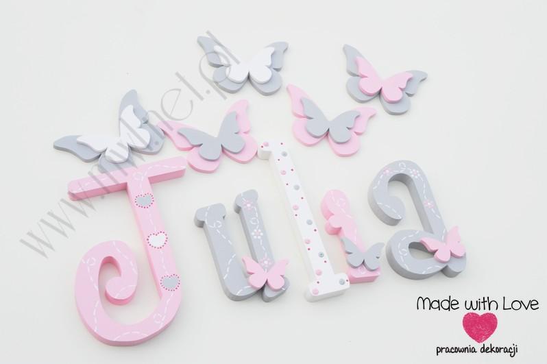 Literki imię dziecka na ścianę do pokoju - 3d 25cm - wzór MWL175 julia julka julcia