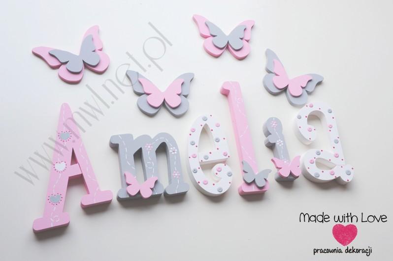 Literki imię dziecka na ścianę do pokoju - 3d 25cm - wzór MWL175 amelia amelka