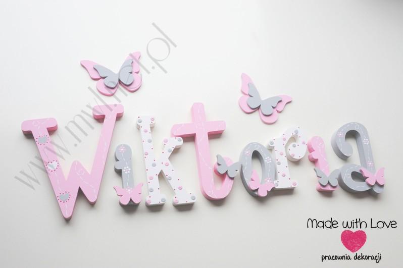 Literki imię dziecka na ścianę do pokoju - 3d 25cm - wzór MWL175 wiki wiktoria