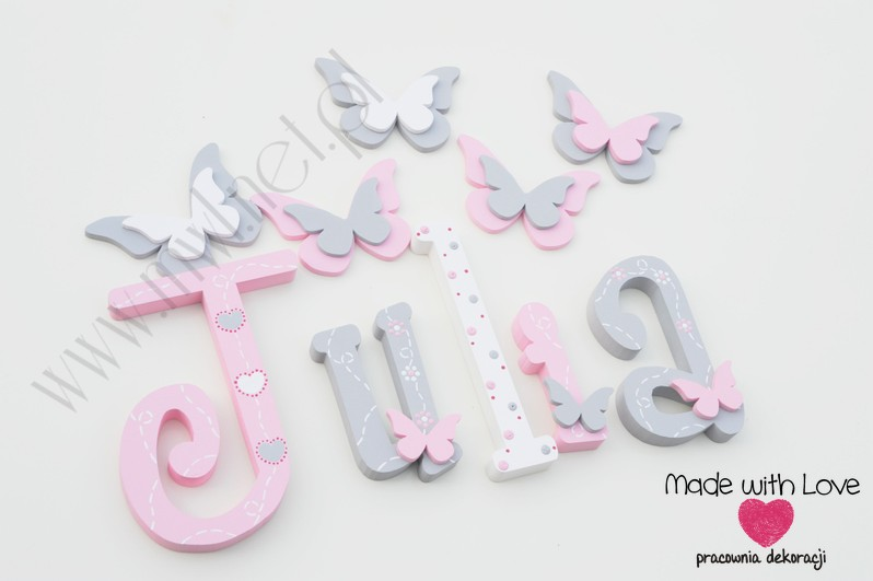 Literki imię dziecka na ścianę do pokoju - 3d 30cm - wzór MWL175 julia julka julcia
