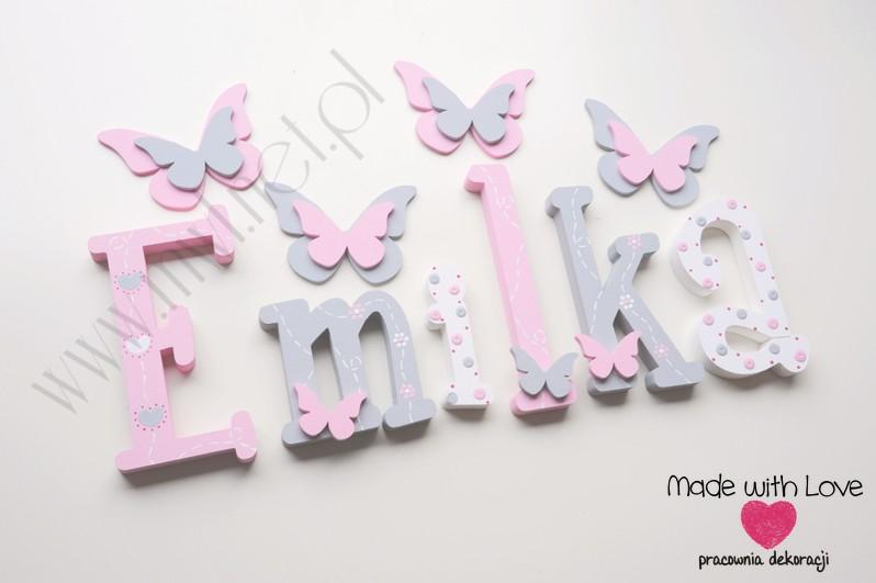 Literki imię dziecka na ścianę do pokoju - 3d 30cm - wzór MWL175 emi emilka emilia