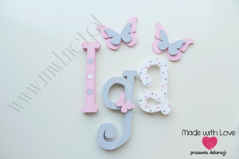 Literki imię dziecka na ścianę do pokoju - 3d 30cm - wzór MWL175 iga igusia
