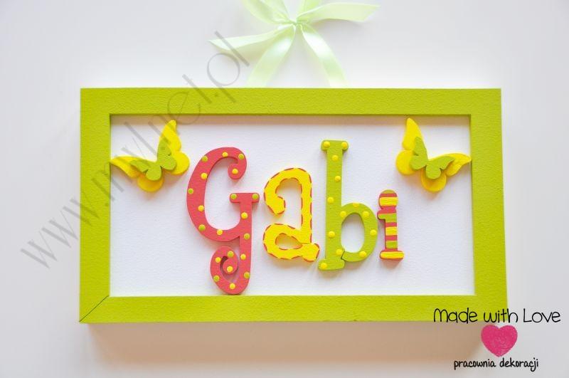 Tabliczka z imieniem dziecka - wzór T1 gabi gabi