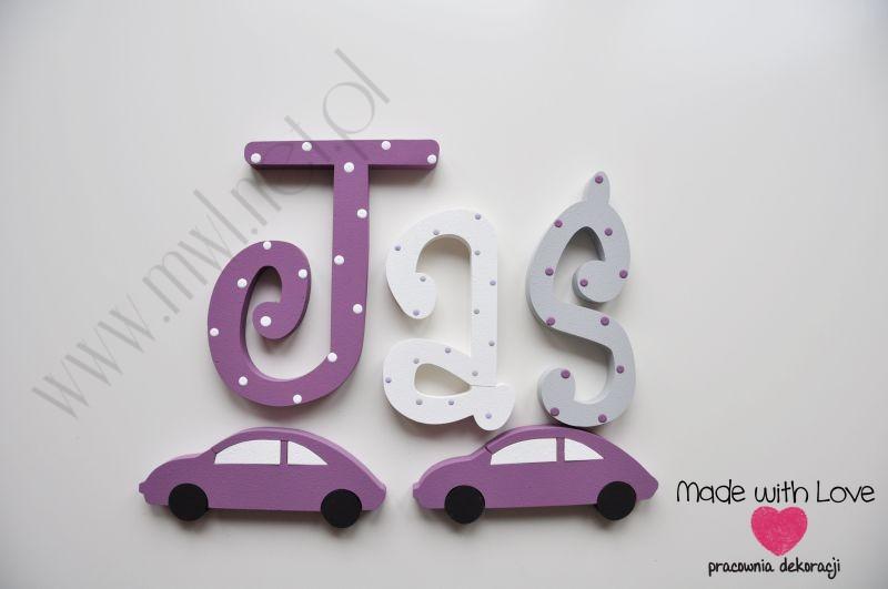Literki imię dziecka na ścianę do pokoju - 3d  30 cm - wzór MWL60 janek jaś jan jasiu
