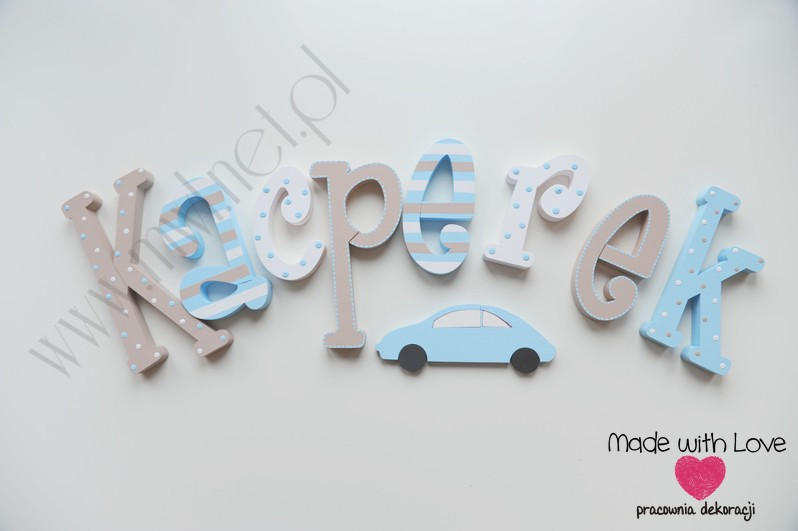 Literki imię dziecka na ścianę do pokoju - 3d  30 cm - wzór MWL64 kacper kacperek kapi