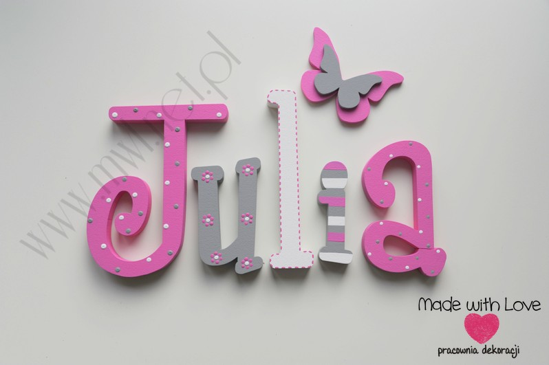 Literki imię dziecka na ścianę do pokoju - 3d  30 cm - wzór MWL69 julka julia julcia