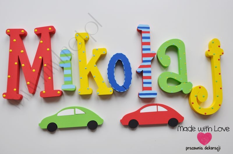 Literki imię dziecka na ścianę do pokoju - 3d  30 cm - wzór MWL72 mikołaj miki mikuś multikolor