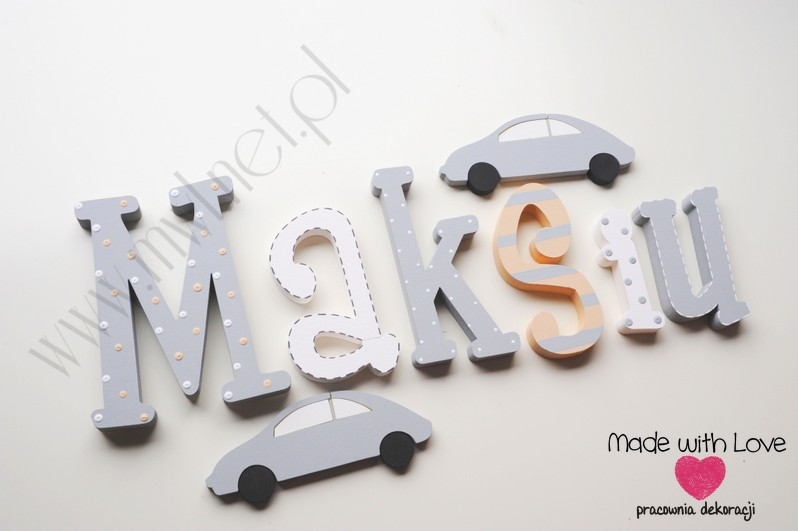 Literki imię dziecka na ścianę do pokoju - 3d  30 cm - wzór MWL73 maks maksiu maksymilian beż szary