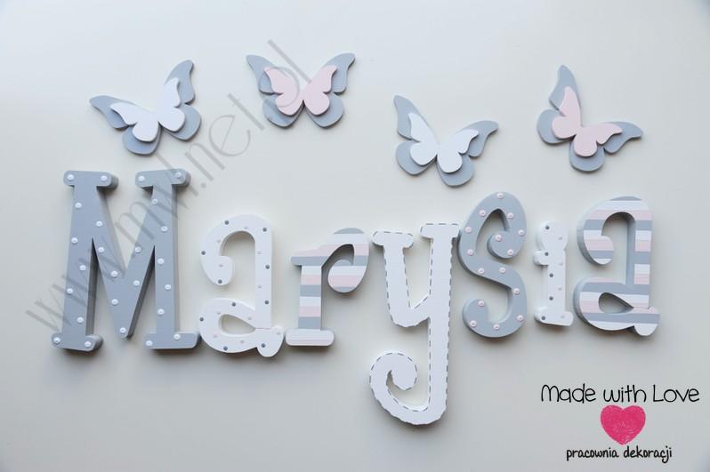 Literki imię dziecka na ścianę do pokoju - 3d  30 cm - wzór MWL74 marysia maria