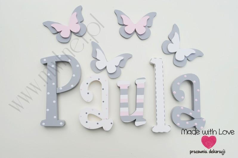 Literki imię dziecka na ścianę do pokoju - 3d  30 cm - wzór MWL74 paula paulina paulinka