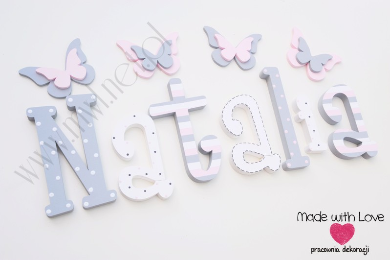 Literki imię dziecka na ścianę do pokoju - 3d  30 cm - wzór MWL74 natalia natalka nati