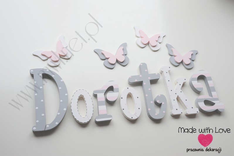 Literki imię dziecka na ścianę do pokoju - 3d  30 cm - wzór MWL74 dorota dorotka