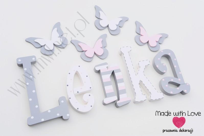 Literki imię dziecka na ścianę do pokoju - 3d  30 cm - wzór MWL74 lenka lena lenusia