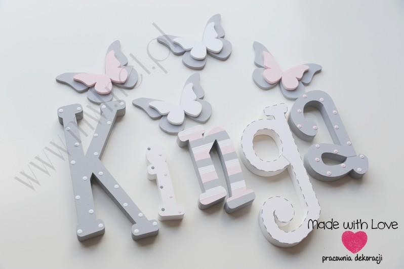 Literki imię dziecka na ścianę do pokoju - 3d  30 cm - wzór MWL74 kinga kinia