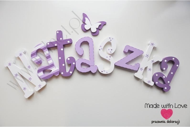 Literki imię dziecka na ścianę do pokoju - 3d  30 cm - wzór MWL77 natasza nataszka