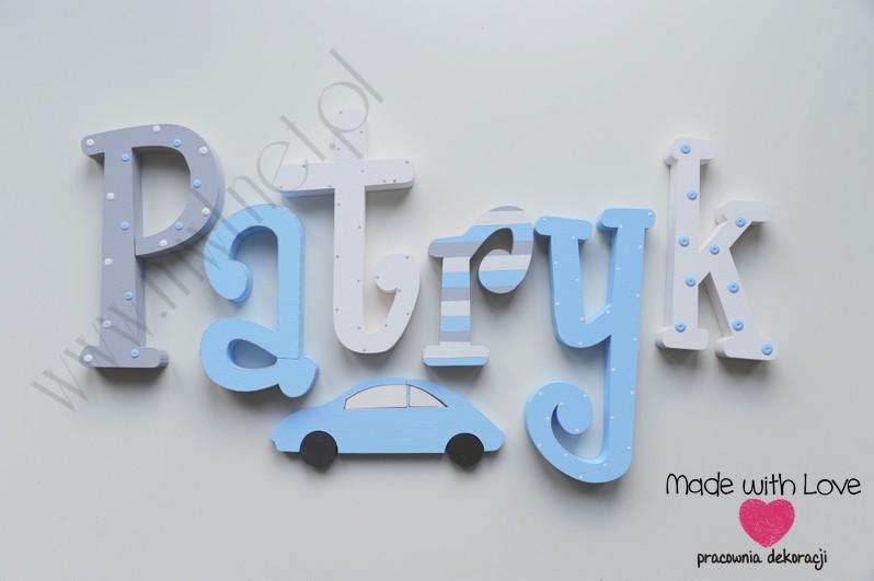 Literki imię dziecka na ścianę do pokoju - 3d  30 cm - wzór MWL78 patryk patryś patryczek chłopiec chłopięcy