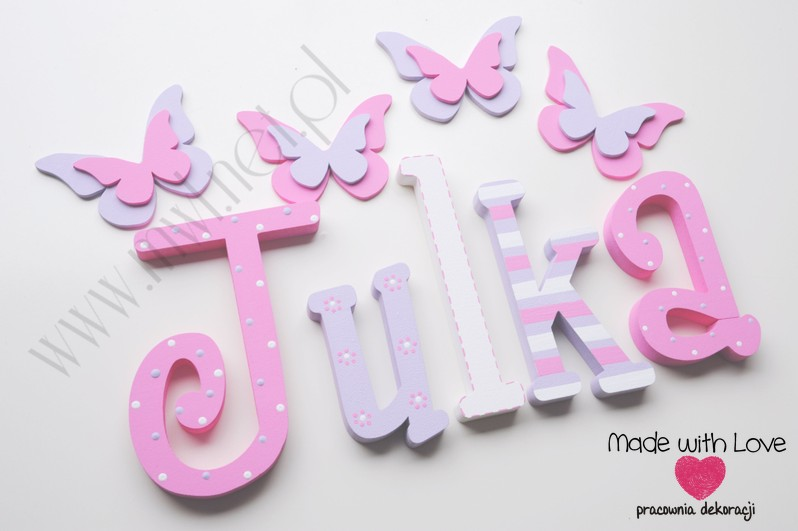 Literki imię dziecka na ścianę do pokoju - 3d  30 cm - wzór MWL79 julia julka julcia