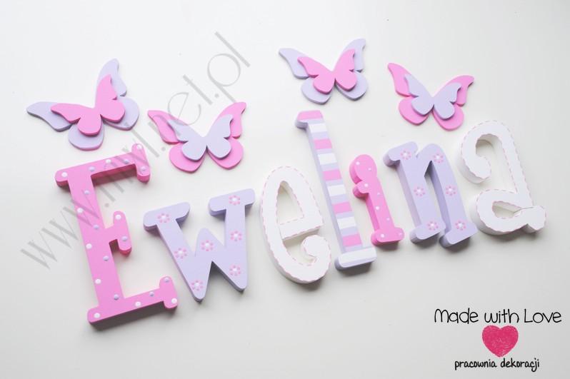 Literki imię dziecka na ścianę do pokoju - 3d  30 cm - wzór MWL79 ewelina ewelinka