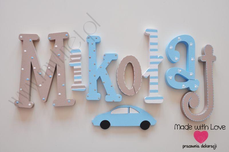 Literki imię dziecka na ścianę do pokoju - 3d  30 cm - wzór MWL82 mikołaj miki mikuś