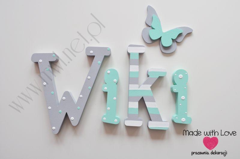 Literki imię dziecka na ścianę do pokoju - 3d  30 cm - wzór MWL85 wiki wiktoria
