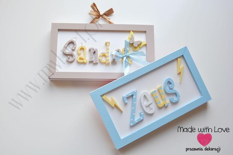 Tabliczka z imieniem dziecka - wzór T7 sandra zeus sandra zeus