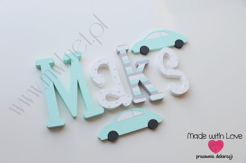 Literki imię dziecka na ścianę do pokoju - 3d  30 cm - wzór MWL88 maksymilian maks