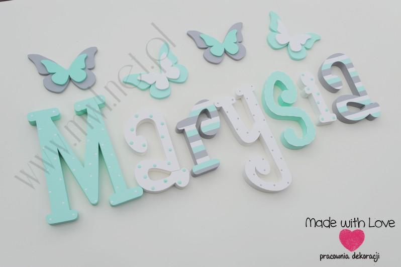 Literki imię dziecka na ścianę do pokoju - 3d  30 cm - wzór MWL88 maria marysia
