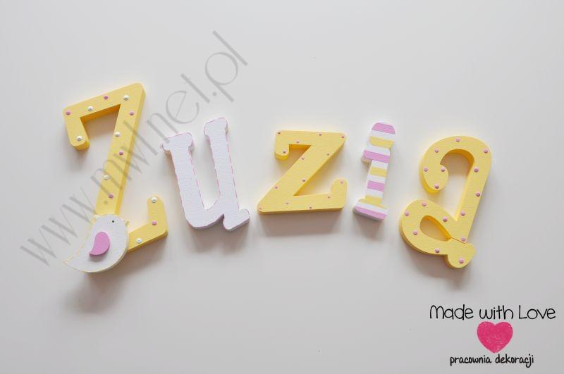 Literki imię dziecka na ścianę do pokoju - 3d  30 cm - wzór MWL91