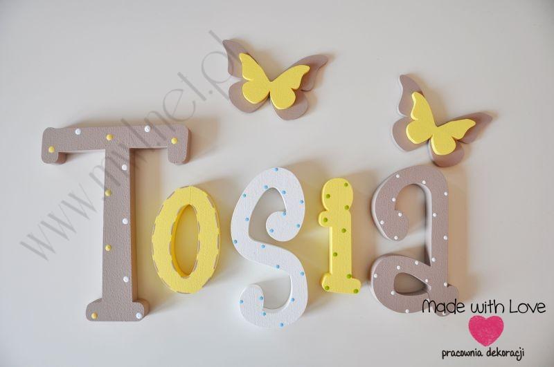 Literki imię dziecka na ścianę do pokoju - 3d - wzór MWL14 tosia antosia antonina tosia