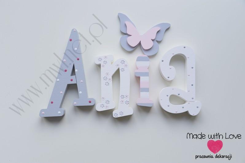 Literki imię dziecka na ścianę do pokoju - 3d  30 cm - wzór MWL97 ania anka anna