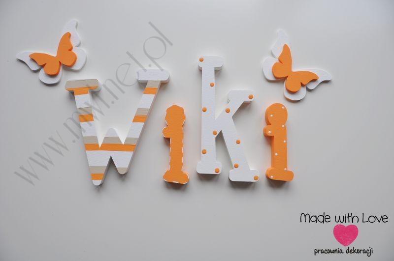 Literki imię dziecka na ścianę do pokoju - 3d  30 cm - wzór MWL98