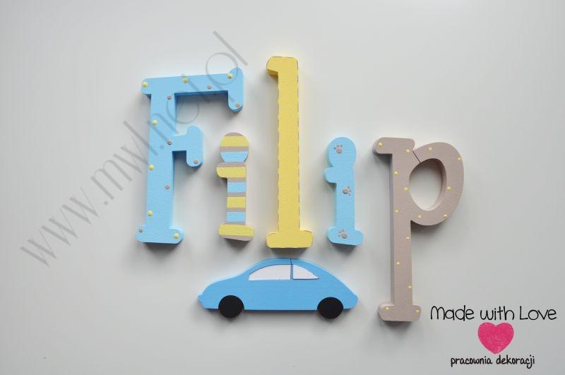 Literki imię dziecka na ścianę do pokoju - 3d  30 cm - wzór MWL103 filip filipek fifi