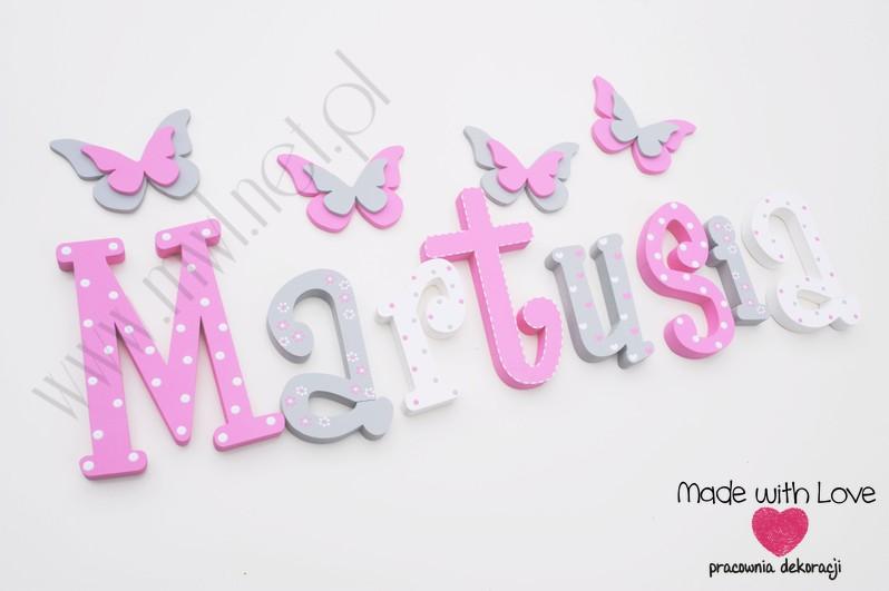Literki imię dziecka na ścianę do pokoju - 3d  30 cm - wzór MWL106 marta marcia martusia
