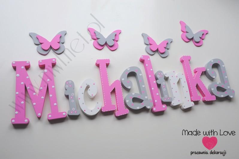 Literki imię dziecka na ścianę do pokoju - 3d  30 cm - wzór MWL106 misia michalina michalinka michasia