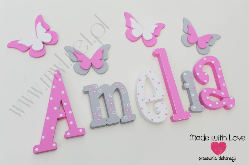 Literki imię dziecka na ścianę do pokoju - 3d  30 cm - wzór MWL106 amelia amelka amelcia