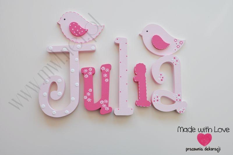 Literki imię dziecka na ścianę do pokoju - 3d  30 cm - wzór MWL109 julia julka julcia jula