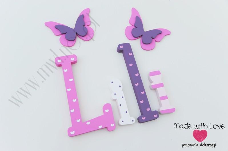 Literki imię dziecka na ścianę do pokoju - 3d  30 cm - wzór MWL114 lilka lilianna liliana lila lilianna