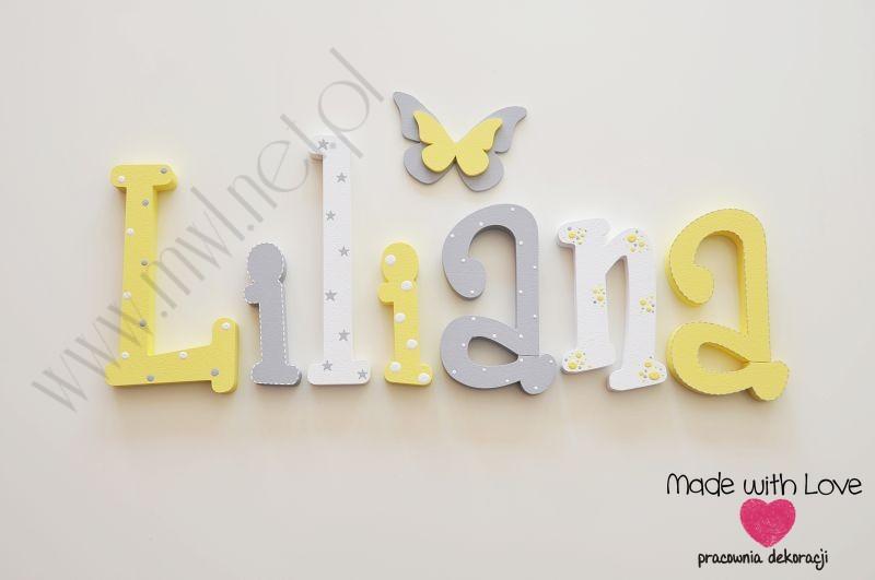 Literki imię dziecka na ścianę do pokoju - 3d  30 cm - wzór MWL115 lilka liliana lila lilianna