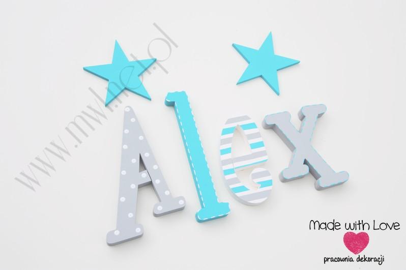 Literki imię dziecka na ścianę do pokoju - 3d  30 cm - wzór MWL117 alex alexander