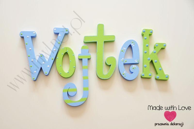 Literki imię dziecka na ścianę do pokoju - 3d  30 cm - wzór MWL118