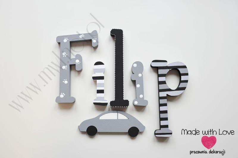 Literki imię dziecka na ścianę do pokoju - 3d  30 cm - wzór MWL121 filip filipek fifi