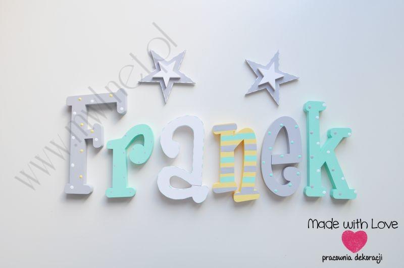Literki imię dziecka na ścianę do pokoju - 3d 25cm - wzór MWL124 franek franio franciszek franuś