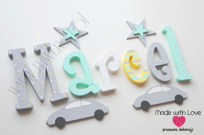 Literki imię dziecka na ścianę do pokoju - 3d 25cm - wzór MWL124 marcel marcelek