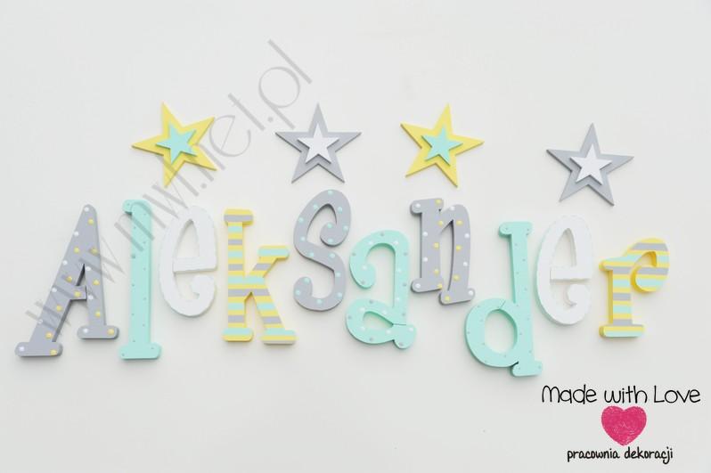 Literki imię dziecka na ścianę do pokoju - 3d  30 cm - wzór MWL124 oluś olek aleksander