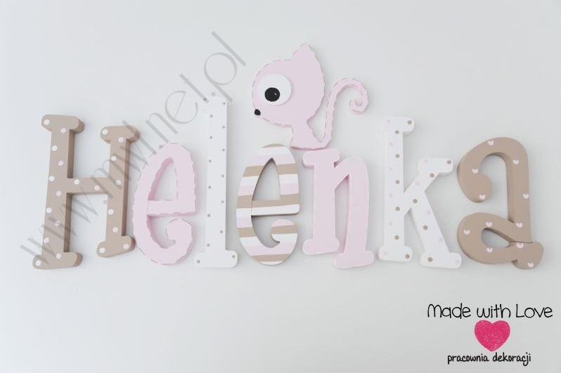 Literki imię dziecka na ścianę do pokoju - 3d  30 cm - wzór MWL125 helena hela helenka