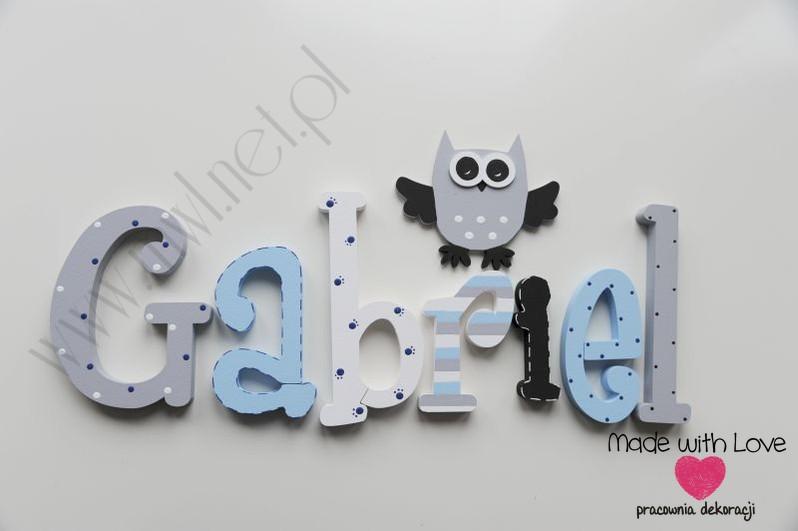Literki imię dziecka na ścianę do pokoju - 3d 25cm - wzór MWL129 gabryś gabrysiek gabriel